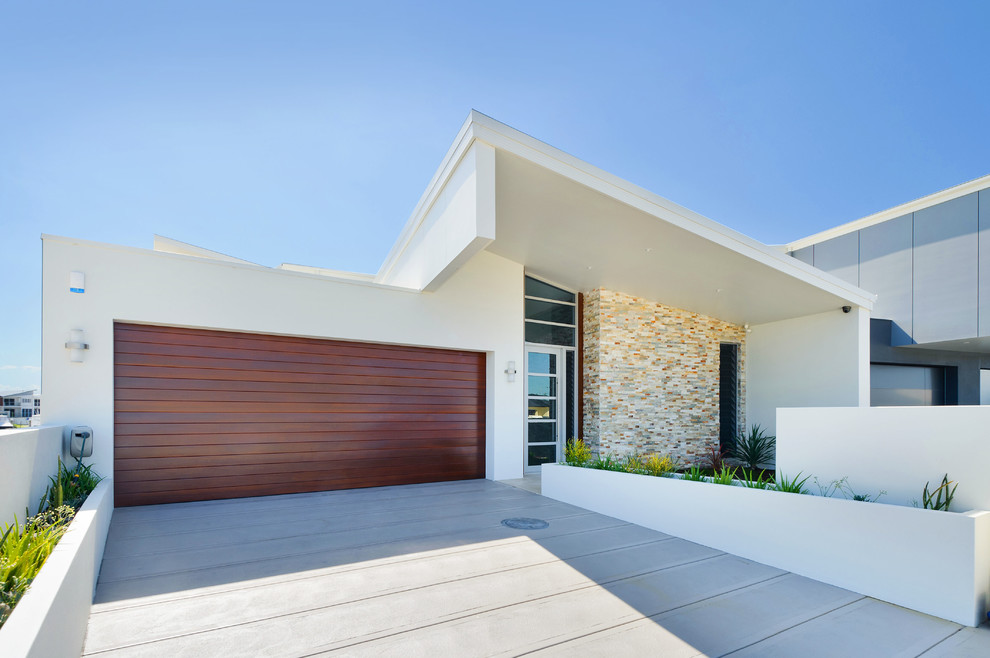Trendy two-story exterior home photo in Sydney