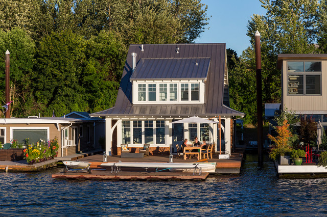 Portland floating home beach style exterior seattle Portland floating homes