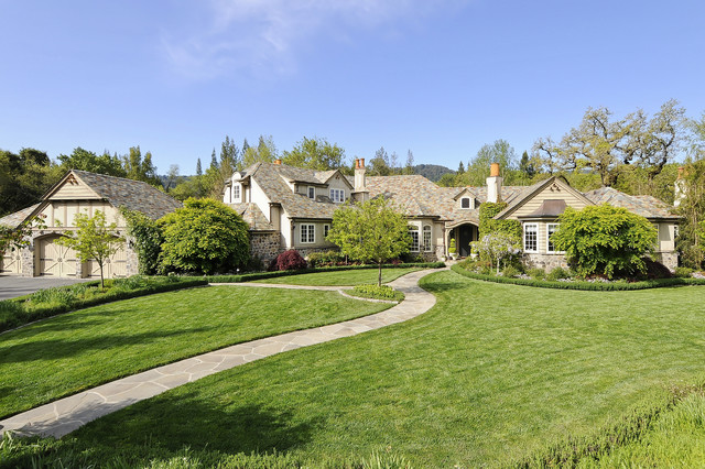Portola Valley French Country Custom Home traditional-exterior