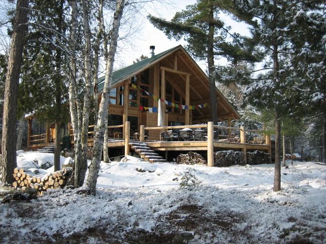 Post & Beam Log Home traditional-exterior