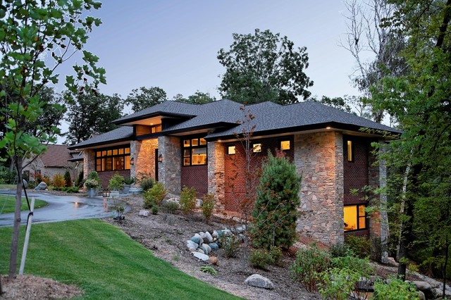 Prairie style home contemporary exterior detroit for Prairie style house plans luxury