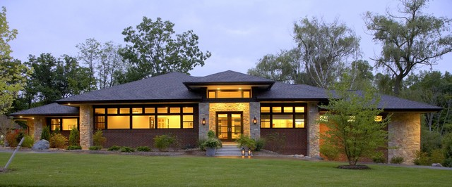 Prairie style home contemporary exterior detroit for Prairie home plans