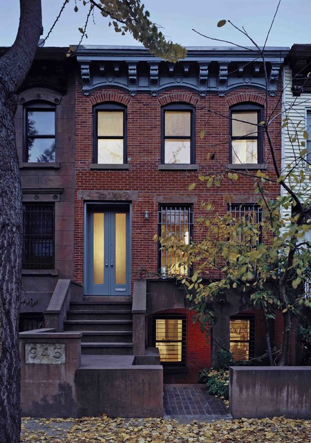 Prospect heights row house transitional exterior new for Row house exterior design ideas