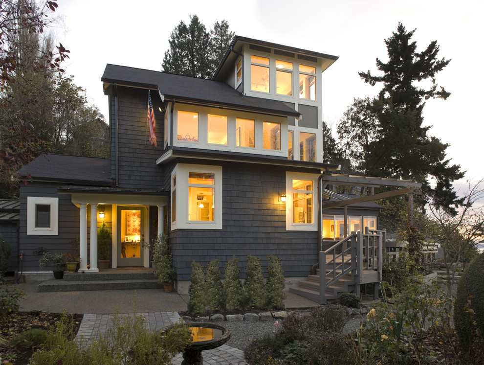 Mid-sized coastal two-story wood exterior home idea in Seattle