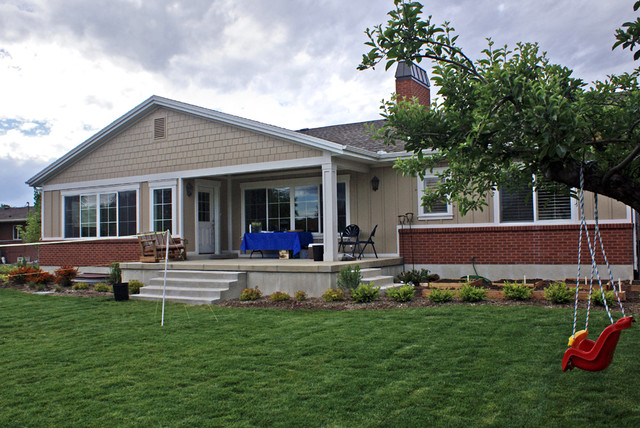 Rambler Style Home With Clapboard Siding Traditional