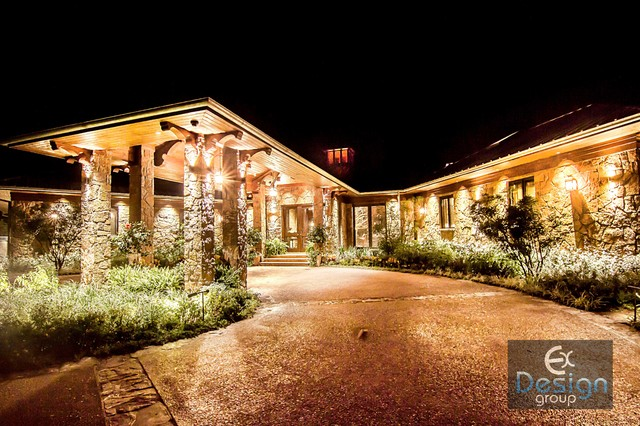 Ranch Home Lighting Design Rustic Exterior Austin By Gre Area Designs