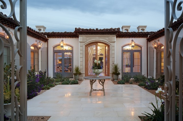 Rancho Santa Fe Home Courtyard Entry Design   Mediterranean   Exterior    San Diego   By Kern U0026 Co.   Susan Spath Interior Design