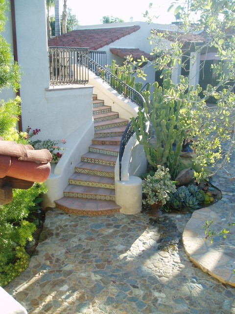 Rancho Santa Fe, Lilian Rice, courtyard, row home, field stone succulents, fount mediterranean exterior