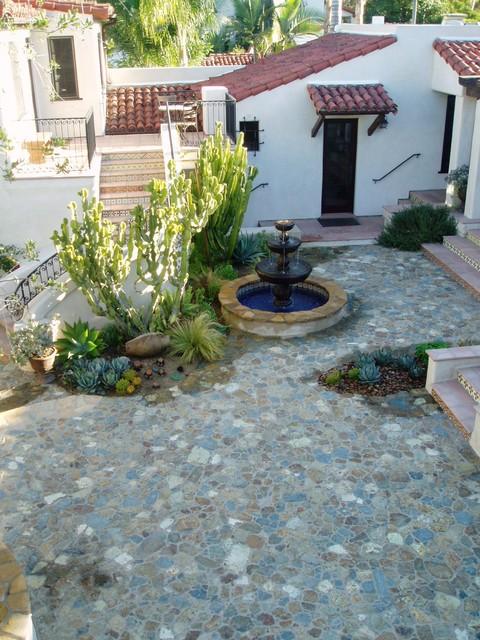 Rancho Santa Fe Lilian Rice Courtyard Row Home Field Stone Succulents Fount Mediterranean