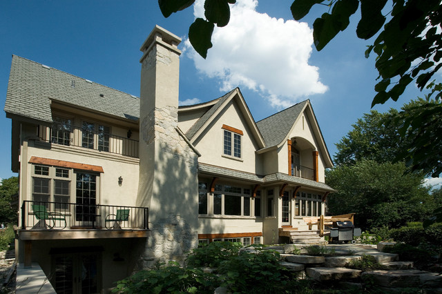 Eclectic Stone and Stucco Farmhouse in Chicago Traditional Exterior chi