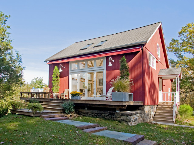 Rear View Of Remodeled Barn In Bucks County Farmhouse
