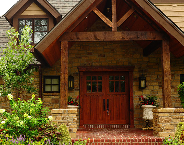 Recycled Wood Beams Use In Structures Rustic Exterior Kansas City By