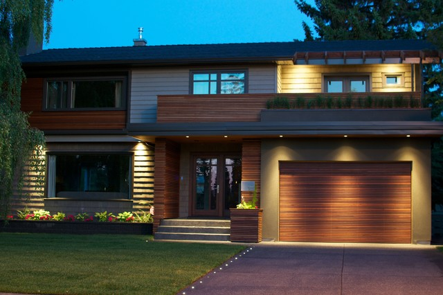 Red Balau Batu Siding Garage Door Contemporary Exterior