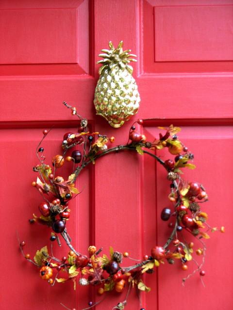 & Red Front Door With Pineapple Knocker