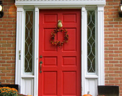 Red Front Door With Pineapple Knocker traditional exterior