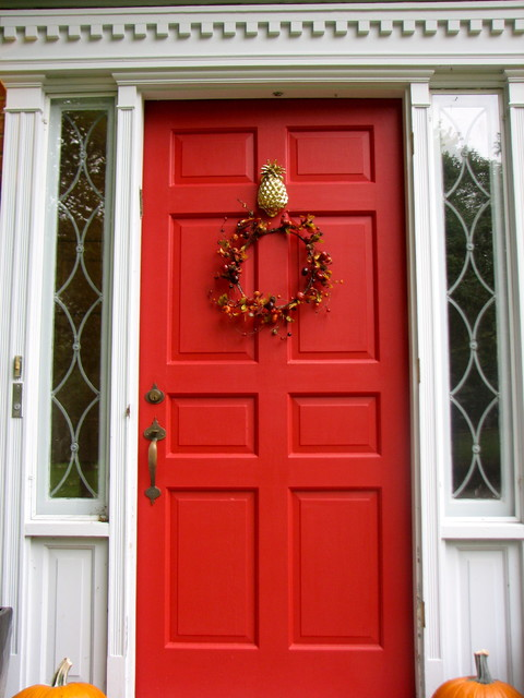 Red Front Door With Pineapple Knocker traditional-exterior