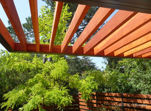 Redwood and steel pergola detail contemporary exterior for Steel and wood pergola