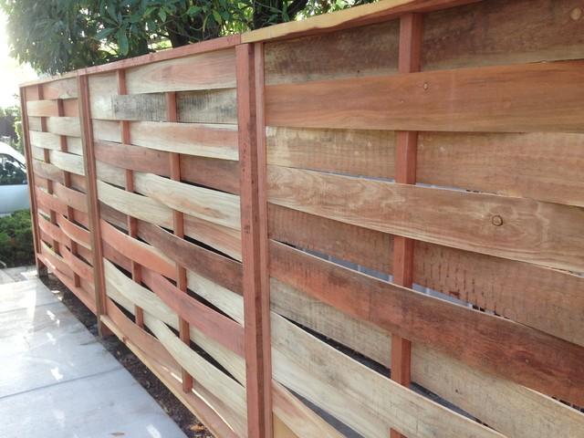 Redwood Basket Weave Fence Modern Exterior