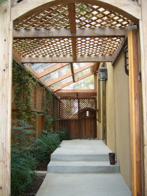 Redwood Covered Walkway, Beverly Hills mediterranean-exterior