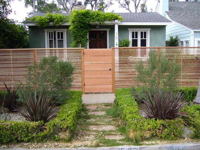 Redwood Gate And Horizontal Slat Fence Venice Beach