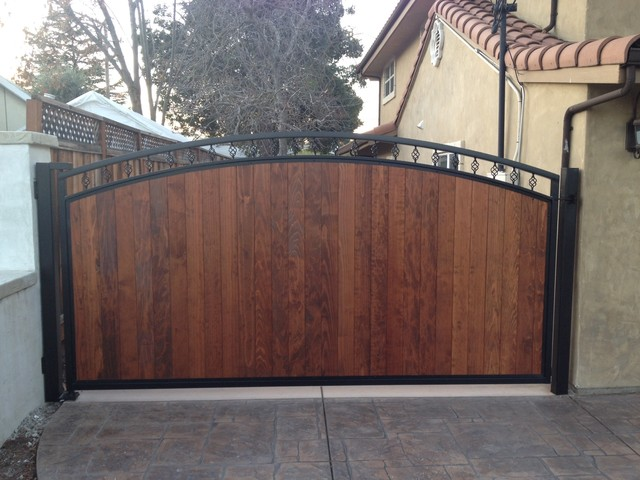 Redwood Panel Slide Gate Traditional Exterior San