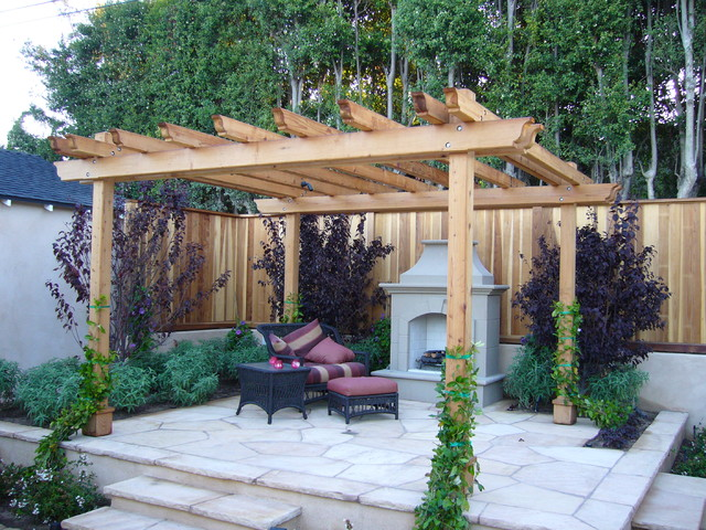 Redwood Pergola Los Angeles Traditional Exterior