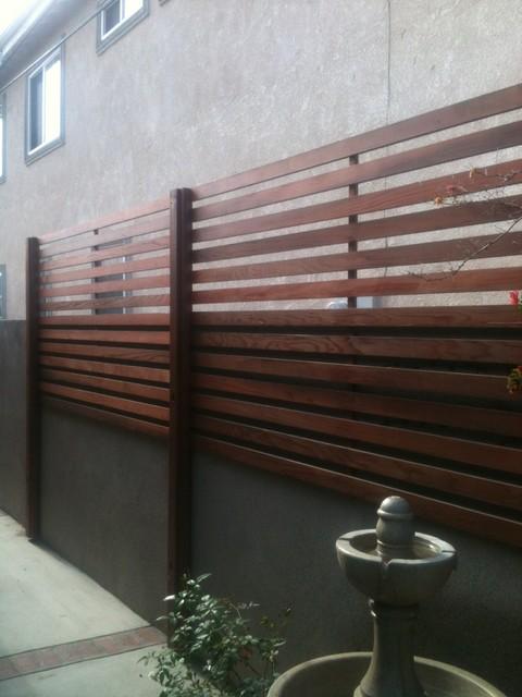 Bathroom privacy window - Redwood Privacy Screen Modern Exterior Orange County