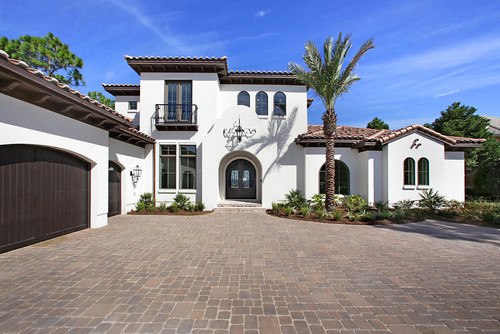 What Color Is The White On The Exterior Stucco Of This Home on mediterranean home exterior paint colors