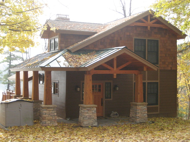 Renovation to adirondack home rustic exterior other for Adirondack style homes
