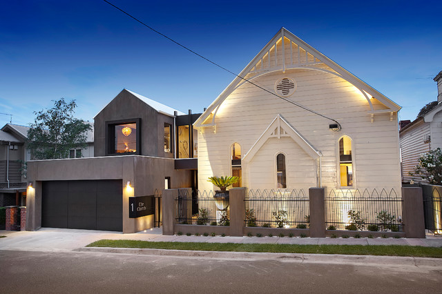 Residential church conversion contemporary exterior for Residential landscape architects melbourne