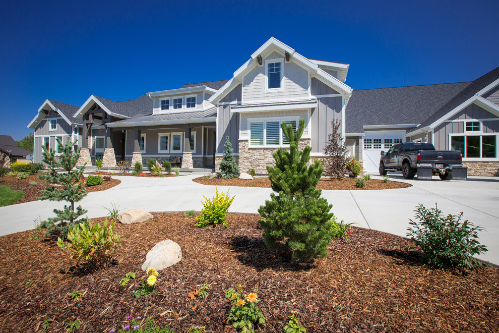 Large transitional gray three-story mixed siding exterior home photo in Salt Lake City