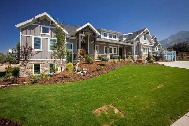 Large transitional gray three-story mixed siding exterior home idea in Salt Lake City