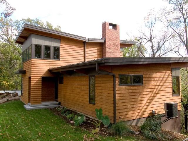 River bluff house exterior contemporary exterior for Modern home design kansas city