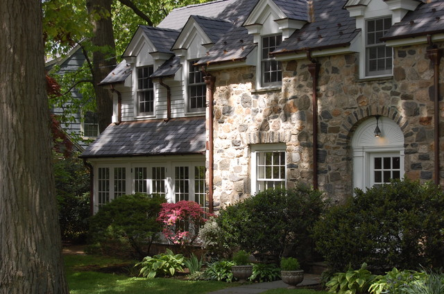 Riverside colonial addition stone dormer traditional for Colonial house addition