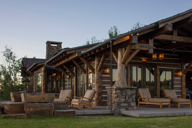 Rocky mountain log homes timber frames rustic for Log home pictures exterior
