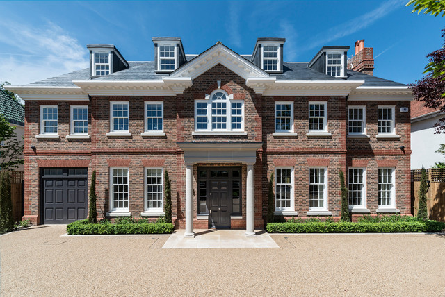 Transitional exterior home idea in London with a hip roof Luxury House Front Elevations Ideas  Photos Houzz