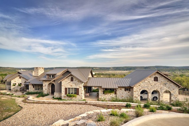 Romantic hill country dream farmhouse exterior for Custom country home plans
