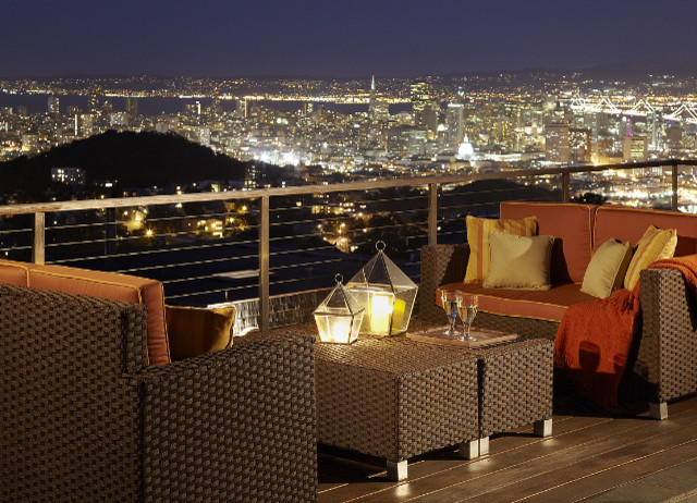 roof terrace at night contemporary exterior