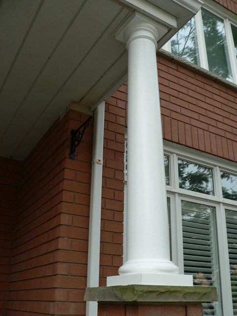 Round tapered smooth exterior columns traditional for Round porch columns