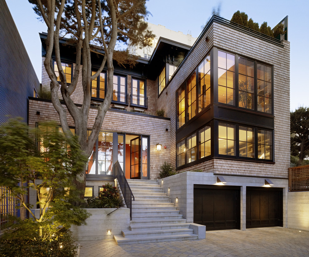Inspiration for a modern wood exterior home remodel in San Francisco