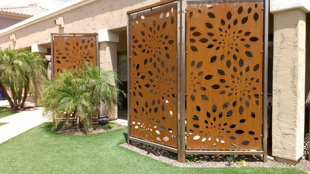 Rusted Steel Privacy Screen Contemporary Exterior