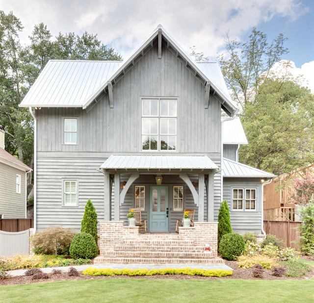 Rustic atlanta farmhouse farmhouse exterior atlanta for Modern rustic farmhouse plans
