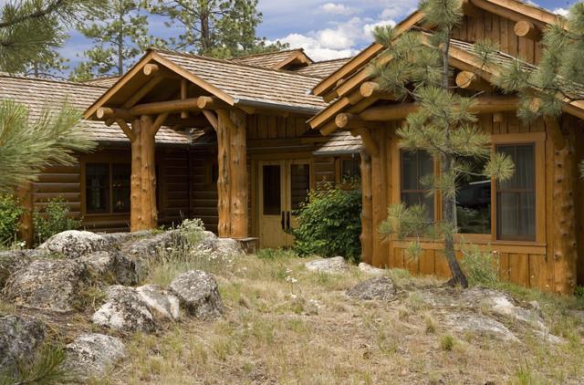 Rustic elegance log siding timber home for Log siding house plans
