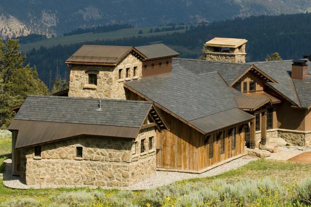 Tuscan farm rustic exterior by centre sky for Tuscan roof design