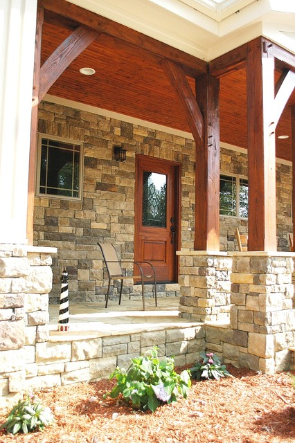 Timber frame porch rustic exterior nashville by for Rustic timber frame homes