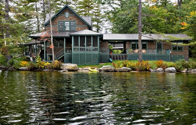 Lake house rustic exterior burlington by smith vansant architects pc for Lake house exterior paint colors