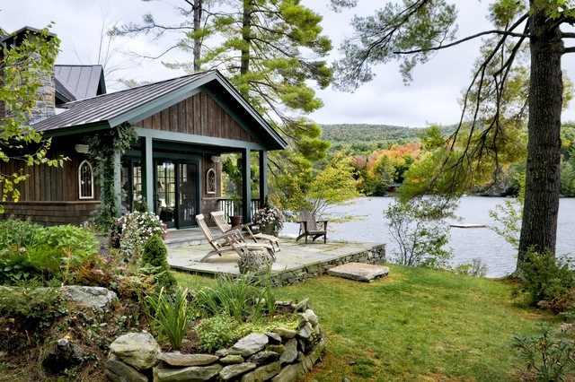 Lake house rustic exterior burlington by smith for Lake home landscape design