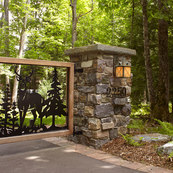 Rustic Style Front Gate Lighting Exterior