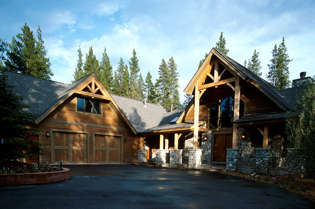 Rustic Timber Frame Ski Home Front Elevation Breckenridge