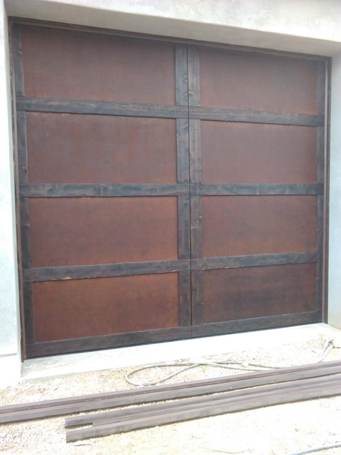 Rustic wood and metal garage doors scottsdale az rustic for Rustic wood garage doors